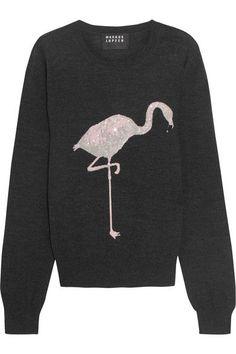 Markus Lupfer | Flamingo sequin-embellished merino wool sweater | NET-A-PORTER.COM