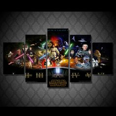 Style Your Home Today With This Amazing 5 Panel Star Wars Movie Framed Wall Canvas Art For $99.00  Discover more canvas selection here http://www.octotreasures.com  If you want to create a customized canvas by printing your own pictures or photos, please contact us.