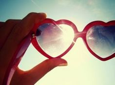 look at the world through heart shaped glasses