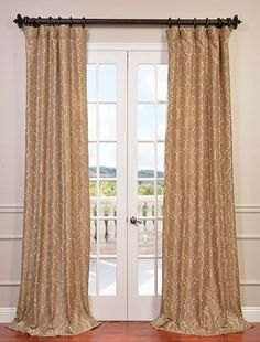 Algeirs Champagne Embroidered Faux Silk Curtain - SKU: EFSCH-14083A at https://halfpricedrapes.com