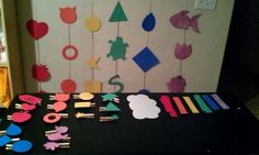 Preschool activity to learn the colors of the rainbow. Cut shapes and then a smaller matching shape. Glue the smaller one to a clothespin and hang the bigger ones on a string. Have the kids stand in line and take turns matching colors and shapes.