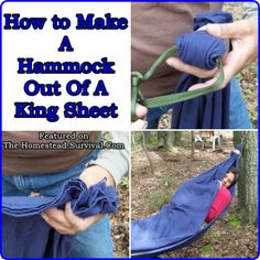 """How to Make A Hammock Out Of A King Sheet Homesteading - The Homestead Survival .Com """"Please Share This Pin"""" Bushcraft Camping, Camping Survival, Survival Prepping, Survival Gear, Survival Skills, Survival Shelter, Emergency Preparedness, Camping Supplies, Camping Ideas"""