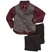 Nautica Little Boys' 3-Piece Herringbone Vest, Shirt and Pants Set