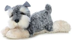 "12"" Aurora Plush Schnauzer Puppy  Dog ""Ludwig"" Gray & White Stuffed Animal Toy #Aurora #Flopsie"
