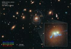 """A """"string of pearls"""" are superclusters of blazing blue-white newly born stars."""