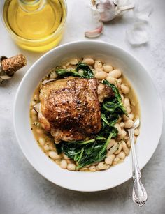 Crispy Roasted Chicken Thighs & Saucy White Beans