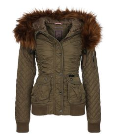 Olive Faux Fur-Trim Ruched Jacket on #zulily