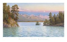 Flathead Lake - View Through The Narrows- signed #art #artist #clouds #dusk #finley-point #flathead-lake #flathead-valley #island #lake #landscape #mission-mountains #mission-valley #montana #monte-dolack #moon #narrows #pine #polson #poster #realism #rockies #rocky-mountains #sky #tree #water