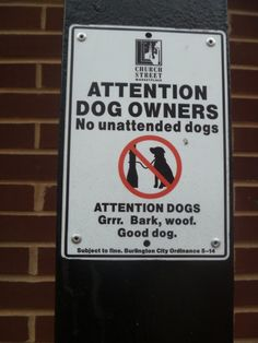 Burlington, Vermont dog sign.