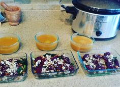 #mealprepsunday  so excited to eat this week. Roasted beets roasted chickpeas sautéed beet greens spinach and feta salad paired with sweet potato soup for lunch. Lentils and veggies in the crockpot for dinner! #mealprep #fallcooking #eatclean #vegetariancooking #cookfromscratch by laurabis824