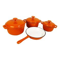 Seven-Piece Cast Iron Cookware Set for 299 Including Delivery Off) Cast Iron Pot, Cast Iron Cookware, Cookware Set, Orange