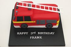 This fire engine cake as commissioned by a customer along with some cupcakes and fire engine cookies. Baby Birthday Cakes, 3rd Birthday, Birthday Party Themes, Fireman Party, Fireman Sam, Fire Engine Cake, Medical Cake, Kid Cakes, Truck Cakes
