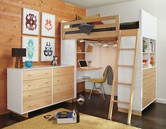 Loft Bed Desk Closet Underneath - great site with tons of good ideas!