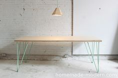 Home Made Modern dining table, hairpin legs