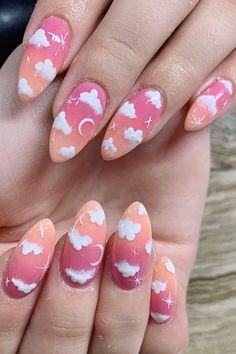 Cute Acrylic Nail Designs, Best Acrylic Nails, Sns Nail Designs, Sns Nails, Dope Nails, Funky Nail Art, Pretty Nail Art, Milky Nails, Kawaii Nails