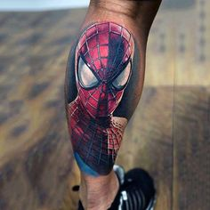 Male Lower Legs Spiderman Tattoo - - - Male Lower Legs Spiderman Tattoo – ideias de tatuagens masculinas na perna Male Lower Legs Spiderman Tattoo – Spiderman Tattoo, Marvel Tattoos, Avengers Tattoo, Sexy Tattoos, Sleeve Tattoos, Tattoos For Guys, Cool Tattoos, Awesome Tattoos, Vader Tattoo