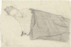 Richard Roland Holst | Vrouw van Richard Roland Holst in bed, Richard Roland Holst, 1878 - 1938 |