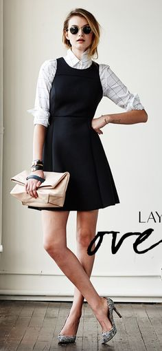Black dress over collared shirt