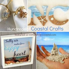 Hundreds of coastal craft projects featured on Completely Coastal: http://www.completely-coastal.com/p/crafts-diy-projects.html Beach Crafts, Nautical Crafts, Shell Crafts, Driftwood Crafts, Rope Crafts, and more!!