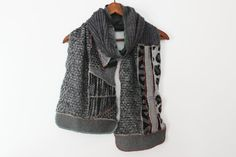 Gray male scarf coal male scarf mohair winter by Nazcolleccolors