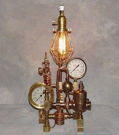 #35 Steampunk Lamp - Industrial Art - Machine Age Solid Brass Steam Gauge Engine