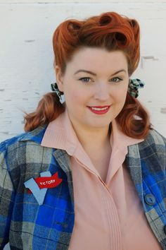 1940s victory rolls with pigtails and hair bows V for Victory brooch