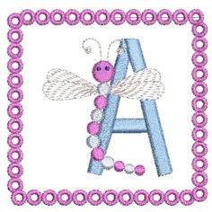 Dragonfly Alphabet A - Freebie Custom Embroidery, Embroidery Thread, Embroidery Applique, Machine Embroidery Designs, Teaching The Alphabet, Clipart Design, Word Art, Blackwork, Quilt Blocks