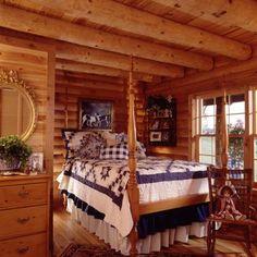 Cozy log bedroom I Real Log Homes Log Cabin Living, Log Cabin Homes, Log Cabins, Mountain Cabins, Rustic Cabins, Mountain Living, Mountain Homes, Log Home Interiors, Log Home Floor Plans