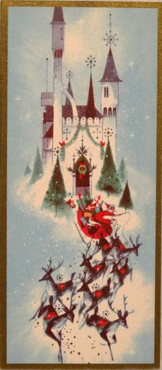 Vintage Christmas card, santa, reindeer, sleigh, castle