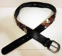 FOSSIL Metallic Rivet Connectors Black Leather Belt Medium #Fossil