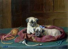 Pug Puppies in a Basket By Horatio Henry Couldery born 1832 - died 1893