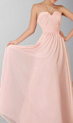 A-line Sweetheart Neck Chiffon Long Prom Gown KSP007