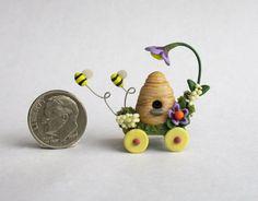 Handmade Miniature  FAIRY BEE HIVE CHARIOT - OOAK C. Rohal #CRohal