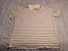 Men's Croft & Barrow Easy Care Polo Golf Shirt - Yellow Stripe - Size XL #CroftBarrow #PoloRugby