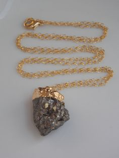 RawRough Pyrite Pendant Necklace on a 26 inch by MalieCreations, $42.00