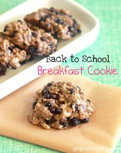 Back to school breakfast cookie recipe - 1 cup of crunchy almond butter, 3/4 cup ripe mashed banana, 1 1/2 cups oats, 3/4 cup blueberries, baking soda and sea salt. Simple ingredients and easy recipe.