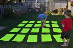 Could be great for math games - Tutorial: Oversized Memory Game Take this classic game outside and get some fresh air and exercise with the kids