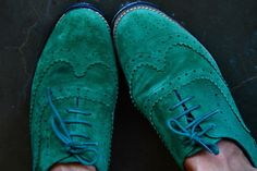 green suede wingtips