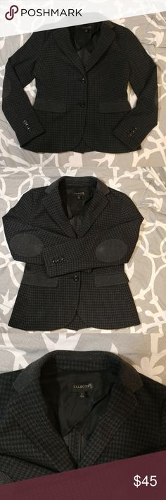 Talbots Dark Houndstooth Blazer Jacket Small Dark grey and black houndstooth sweater from Talbots, size small. Small amount of pilling on elbow patches, see pictures. Classic two button design. Talbots Jackets & Coats Blazers