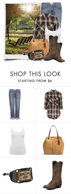 """""""Country Swinging"""" by queenrachietemplateaddict ❤ liked on Polyvore featuring Paige Denim, Topshop, M&Co, UGG Australia, M&F Western, country, Leather, Boots, plaid and cowboyboots"""