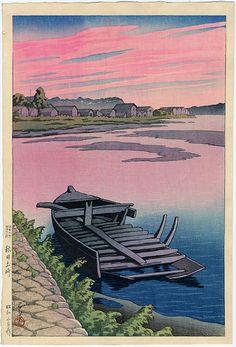 السكينة والهدوء ،، لكني أخشى أن يكون الهدوء الذي يسبق العاصفة  :: Kawase Hasui (1883-1957): Tsuchizaki, Akita, 1928
