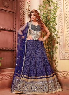 Women's Navy Blue Lovely Lehenga Choli With Lace Work In Traditional Look This attire is nicely made with Lace work.
