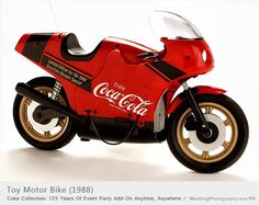 This Coca-Cola toy motor bike was a limited edition built for the 1988 Olympics. It is operated by remote control.