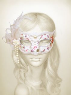 White Cream And Floral Printed Masquerade Mask  by SOFFITTA