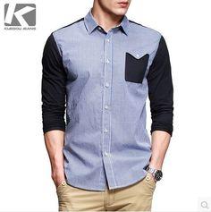 เสื้อเชิ้ตผู้ชาย ผ้าคอตตอนแขนยาวลายตารางโทนน้ำเงินเย็บแต่งด้วยผ้าสีดำ http://www.sunday17.com/product/964