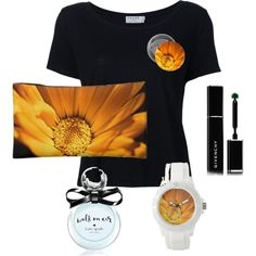Accessories in black, white and orange by julemstudio on Polyvore  #makeupbag #gifts #womensFashion