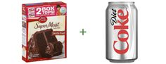Cake mix. Soda. That's all you need. -- Devil's Food Cake Mix + Diet Coke = Sinless Devil's Food Cake  -  Do note: If you're the type who refuses to eat cake without frosting, please, by all means, add frosting.