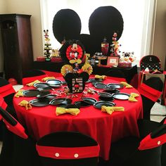 Mickey Mouse centerpiece , Mickey Mouse theme party / kids party , candy table / sweets table , backdrops , photo stations , pictures , cutouts , bow tie napkins , treats