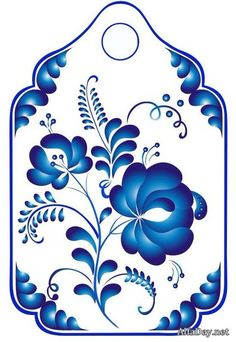 Гжель, русский орнамен beautiful blue delft tag, lots or good printables on this board