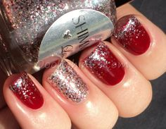 Red and silver nails, red sparkle nails, prom nails, xmas nails Red Sparkle Nails, Red And Silver Nails, Fancy Nails, Love Nails, How To Do Nails, Pretty Nails, Silver Glitter, Xmas Nails, Prom Nails